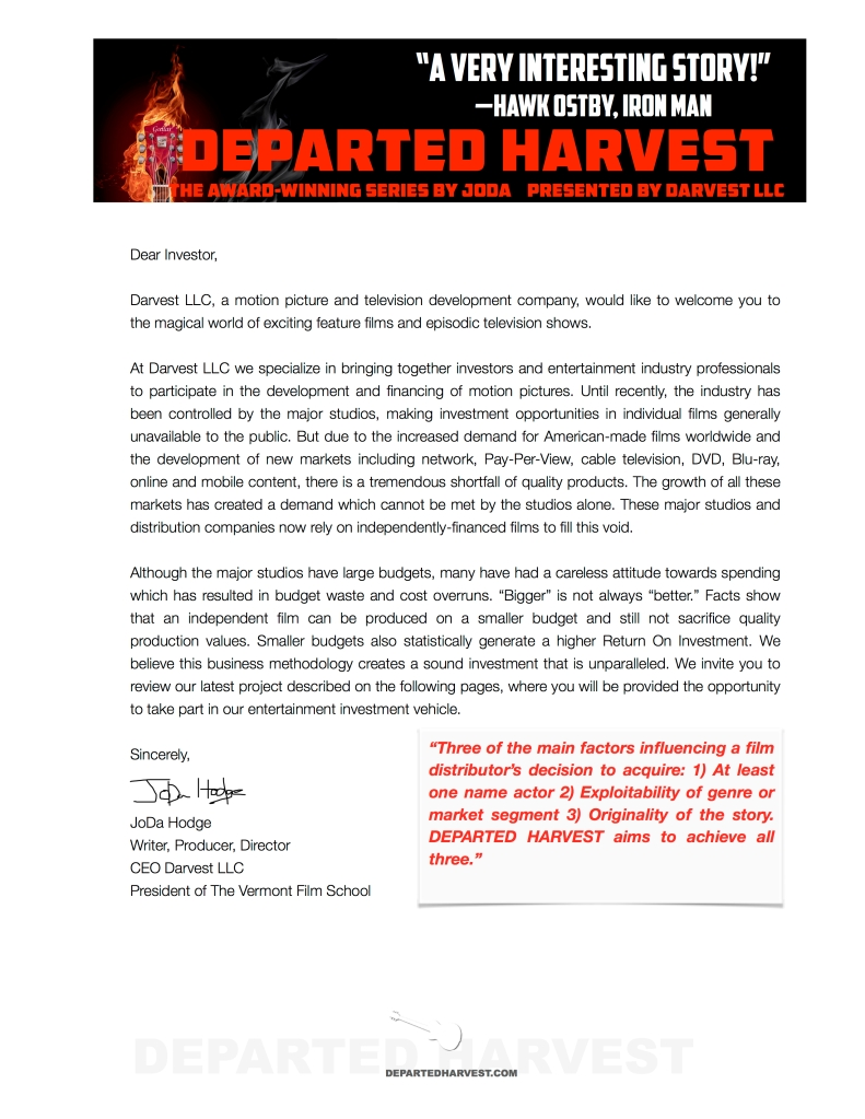 Investors – DEPARTED HARVEST Award-winning Film and Television Series